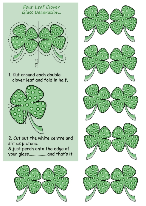 st patrick's day glass decoration 4 leaf clover template