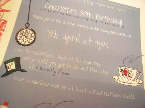 Mad hatters tea party invite