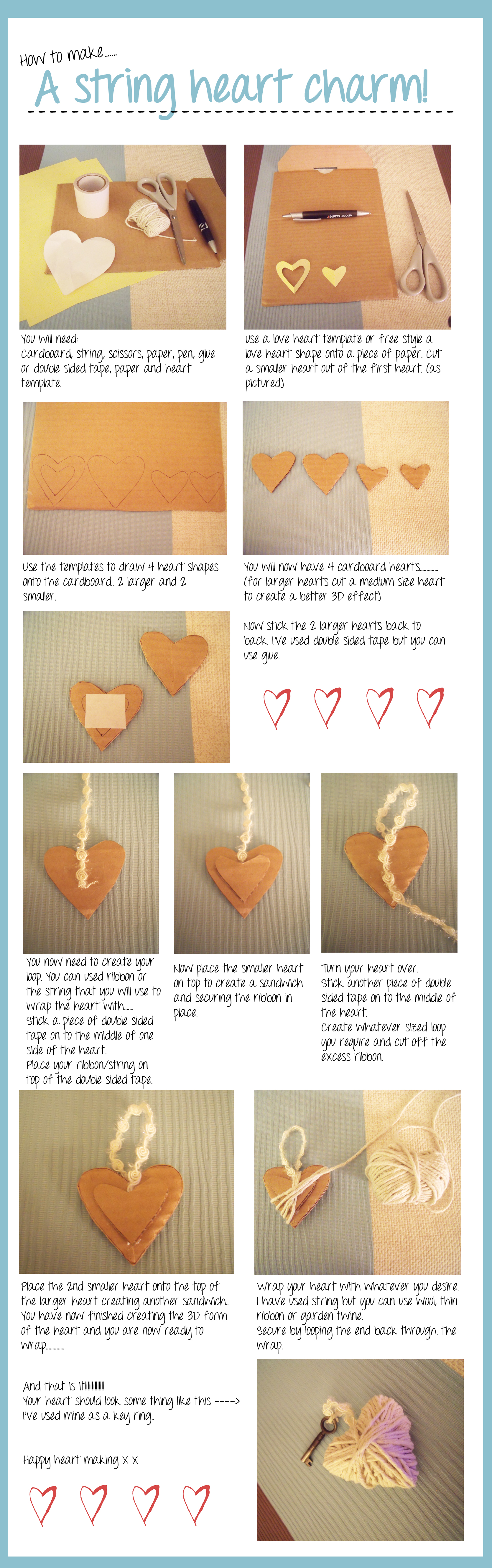 How to make a string heart charm decoration