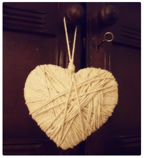 handmade string heart decoration