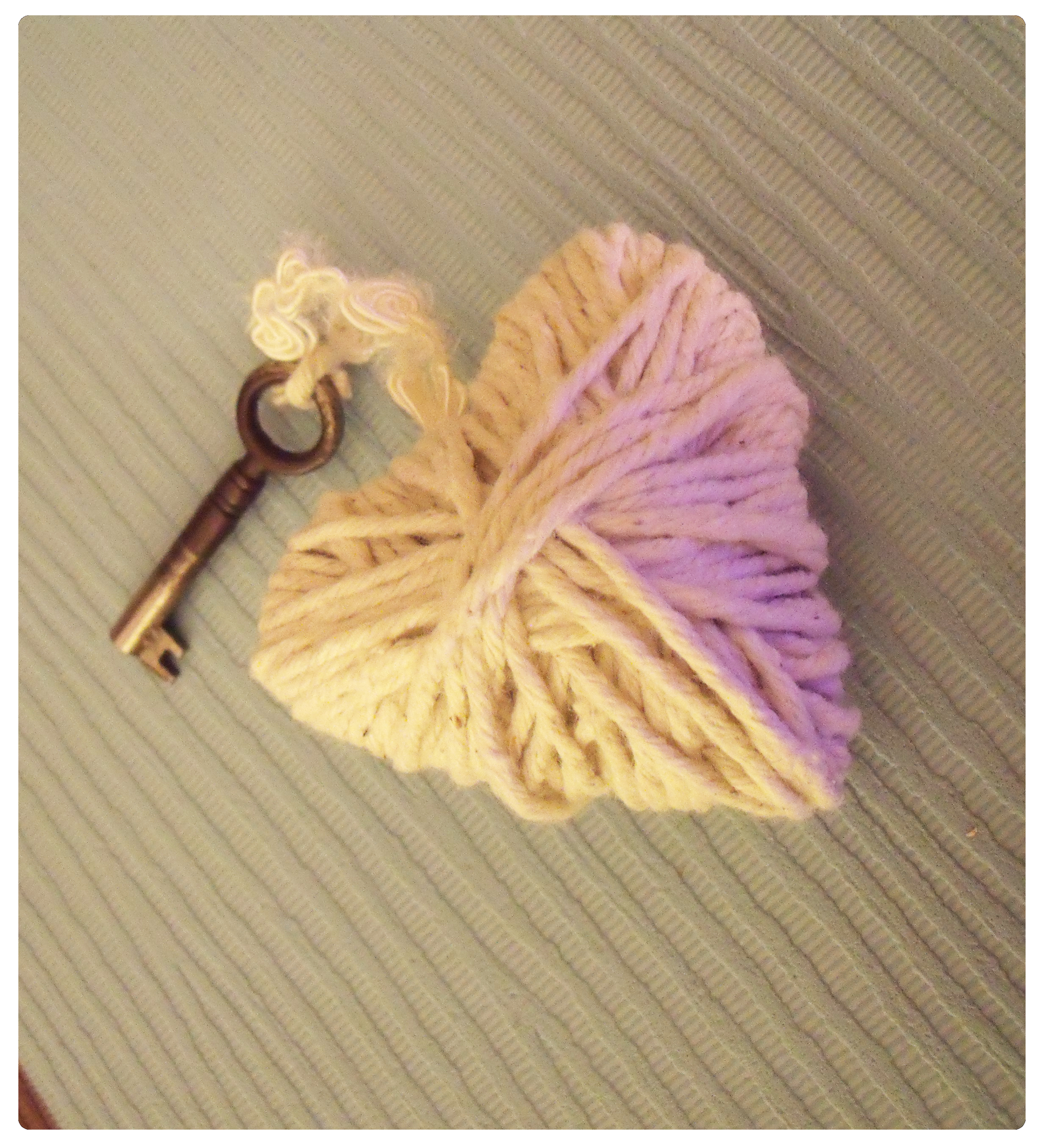 Hand made string heart keyring charm decoration