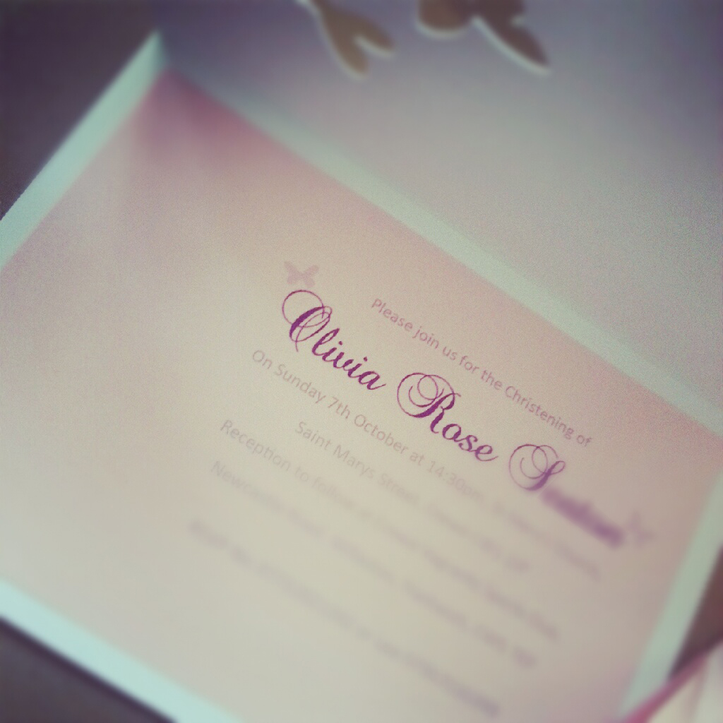christening invite butterfly and rose cut out design